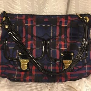 Coach unique stylish bag w/gold thread 2outside pk